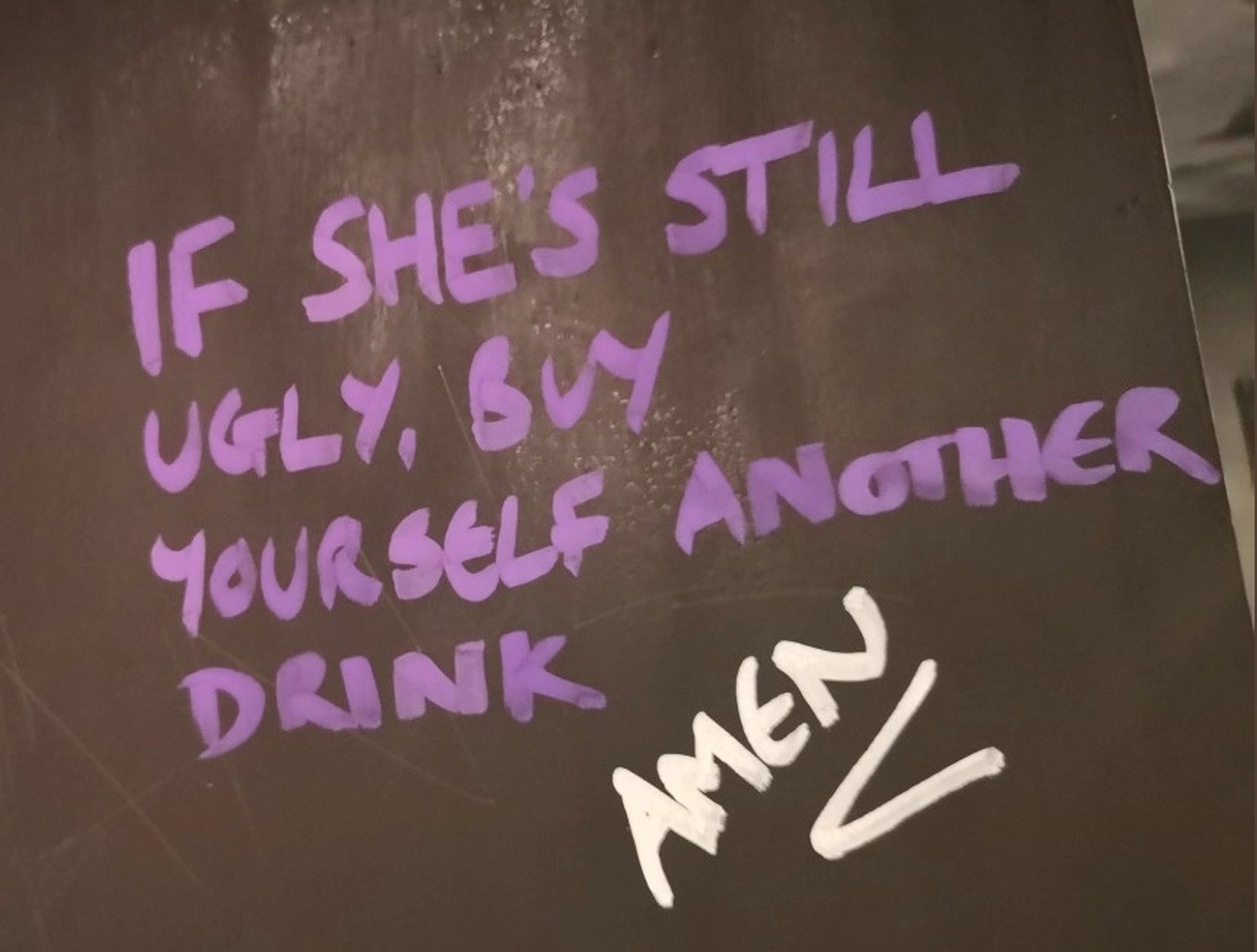 Another note suggested that a man should drink more beer if they find a woman ugly. Credit: Kennedy News and Media