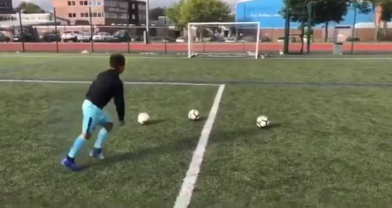 Fabian's first ball hit the crossbar. Credit: @fab_charles10/Triangle News