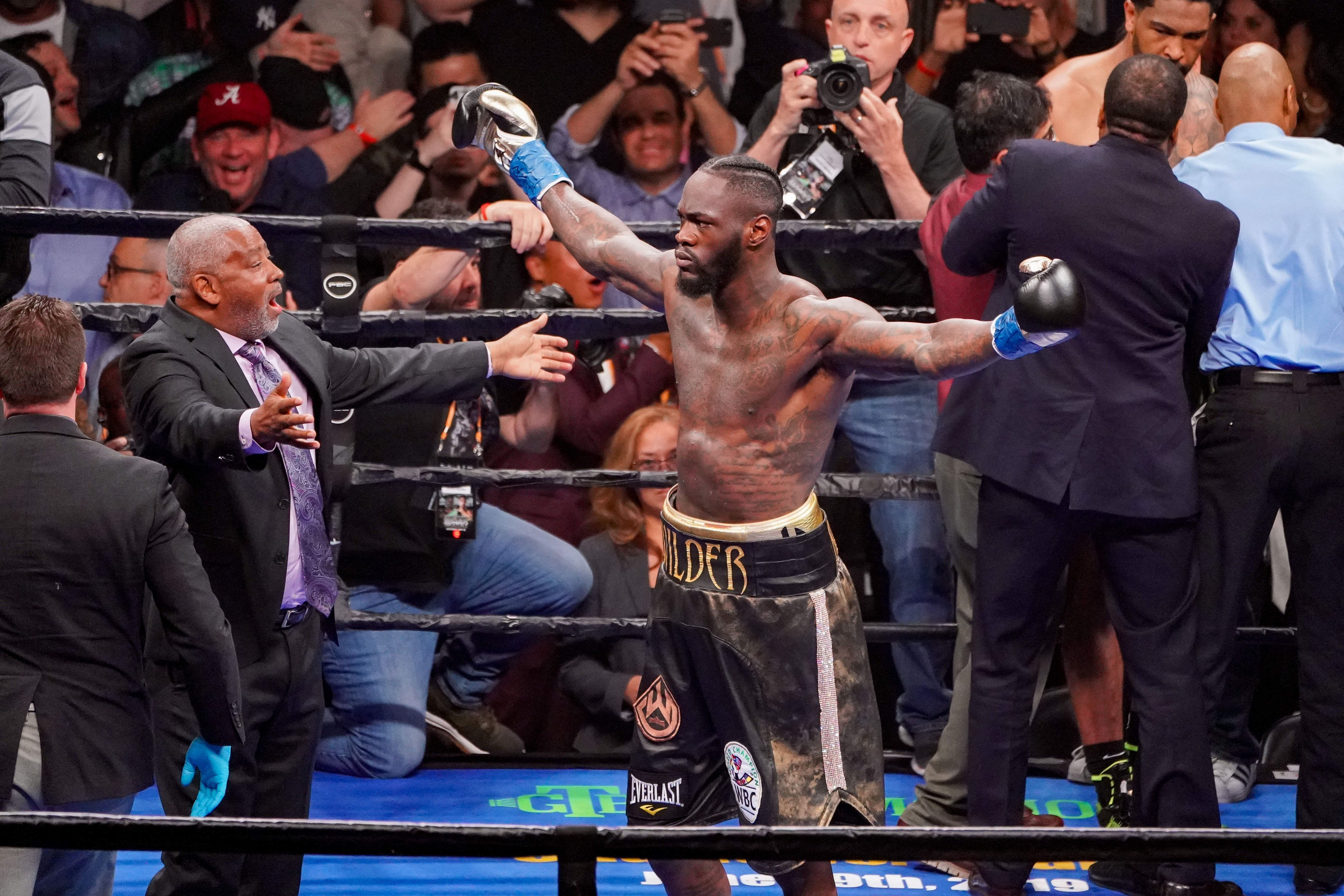 Wilder celebrates his first round stoppage of Dominic Breazeale. Image: PA Images