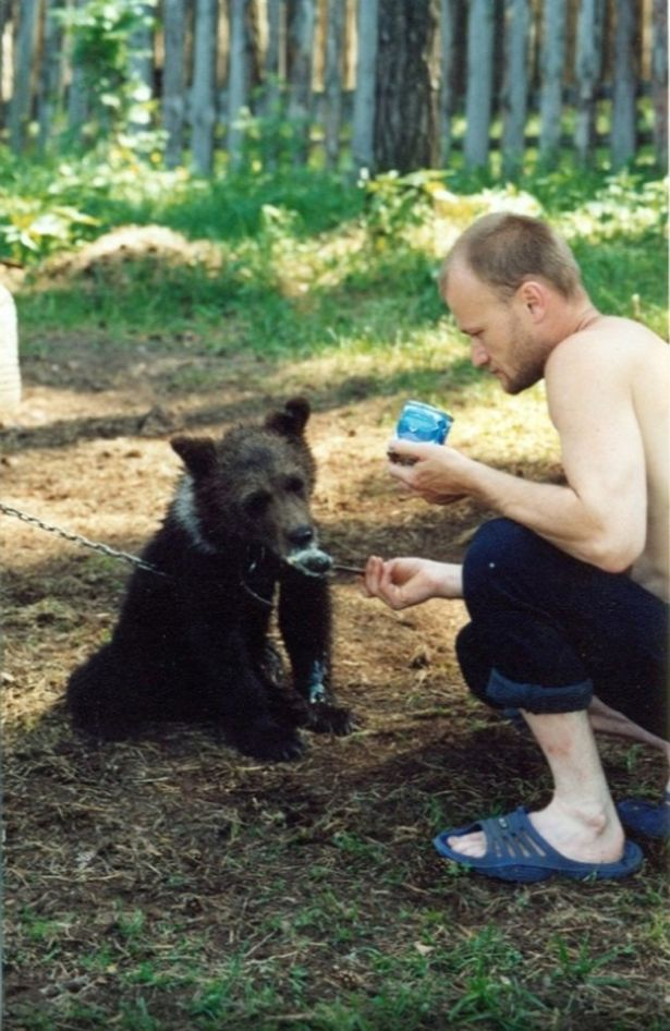 Sergey Grigoriyev and the bear. Credit: East2West News