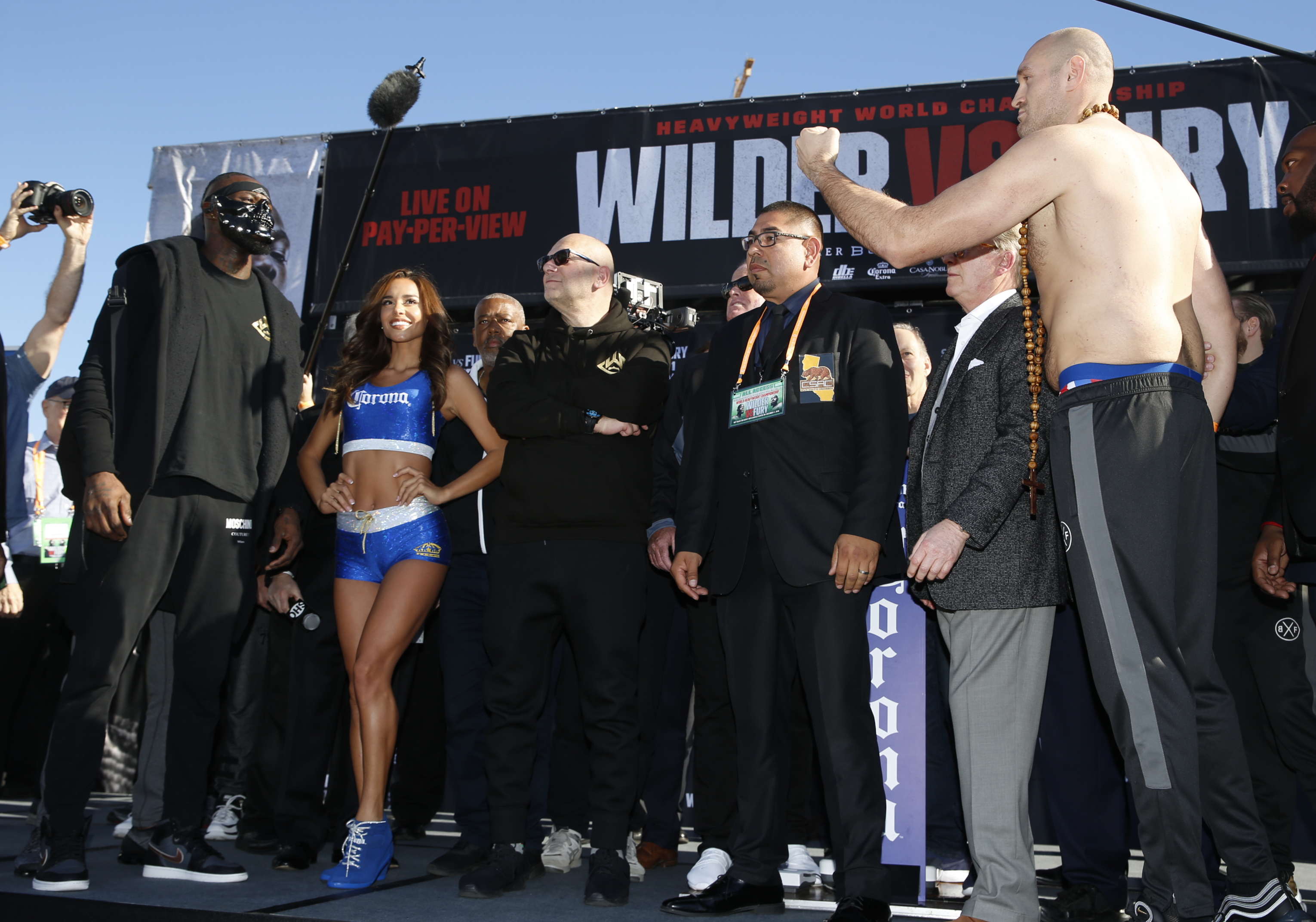 Wilder and Fury were kept apart at the weigh in. Image: PA Images