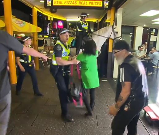 The woman was thrown to the floor after punching the horse. Credit: 7 News