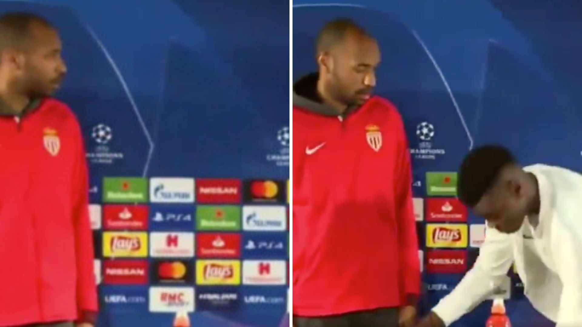 Thierry Henry Gives Monaco Star The Coldest Stare After Not Tucking His Chair In
