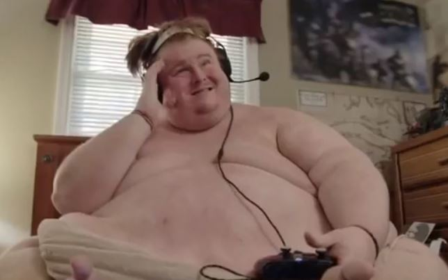 Casey's mum kicked him out when he quit his job so he moved in with his dad where he eats all day and plays video games in the nude. Credit: TLC