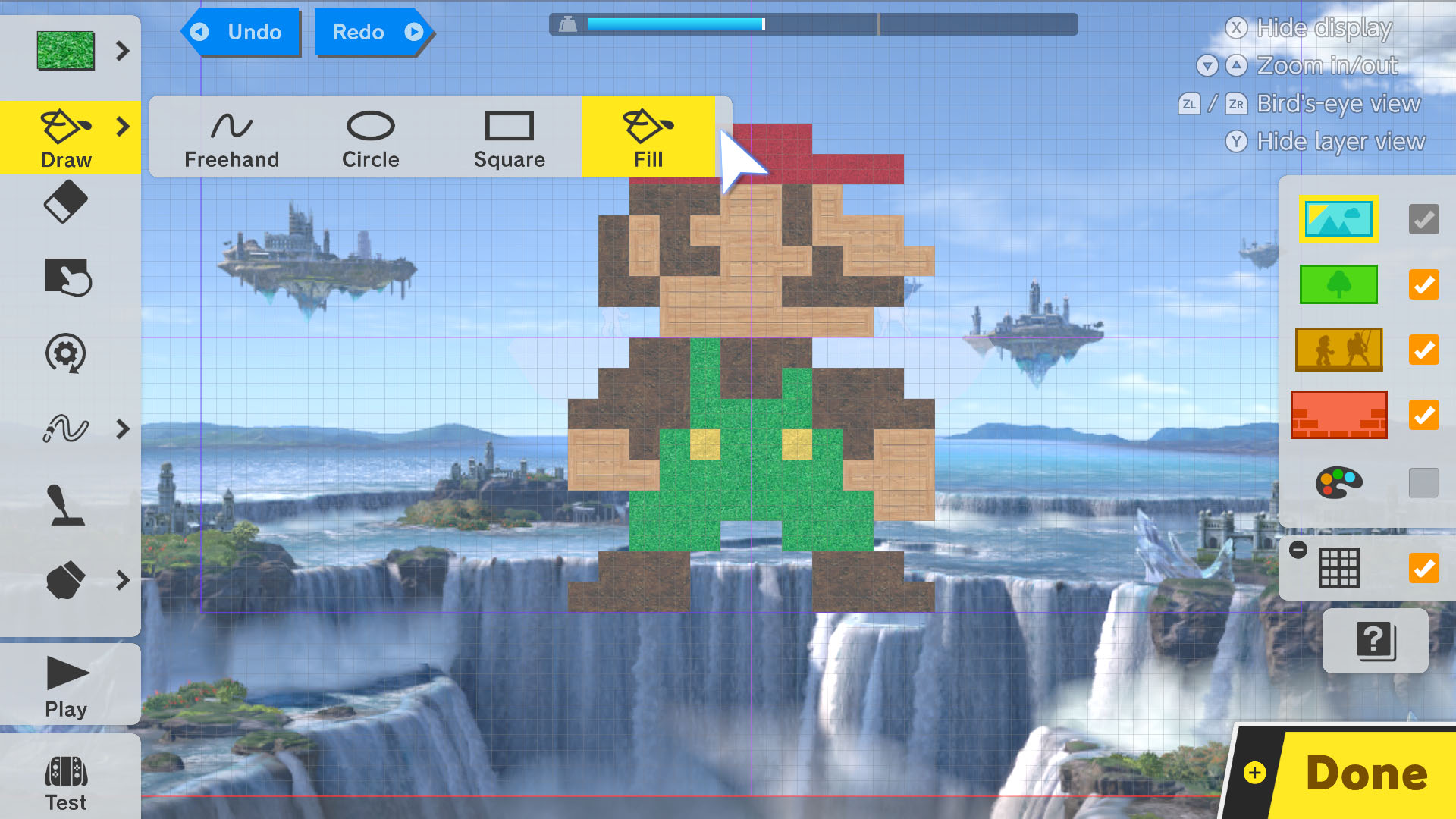 In undocked mode, you can use the Switch's touchscreen to draw your stage