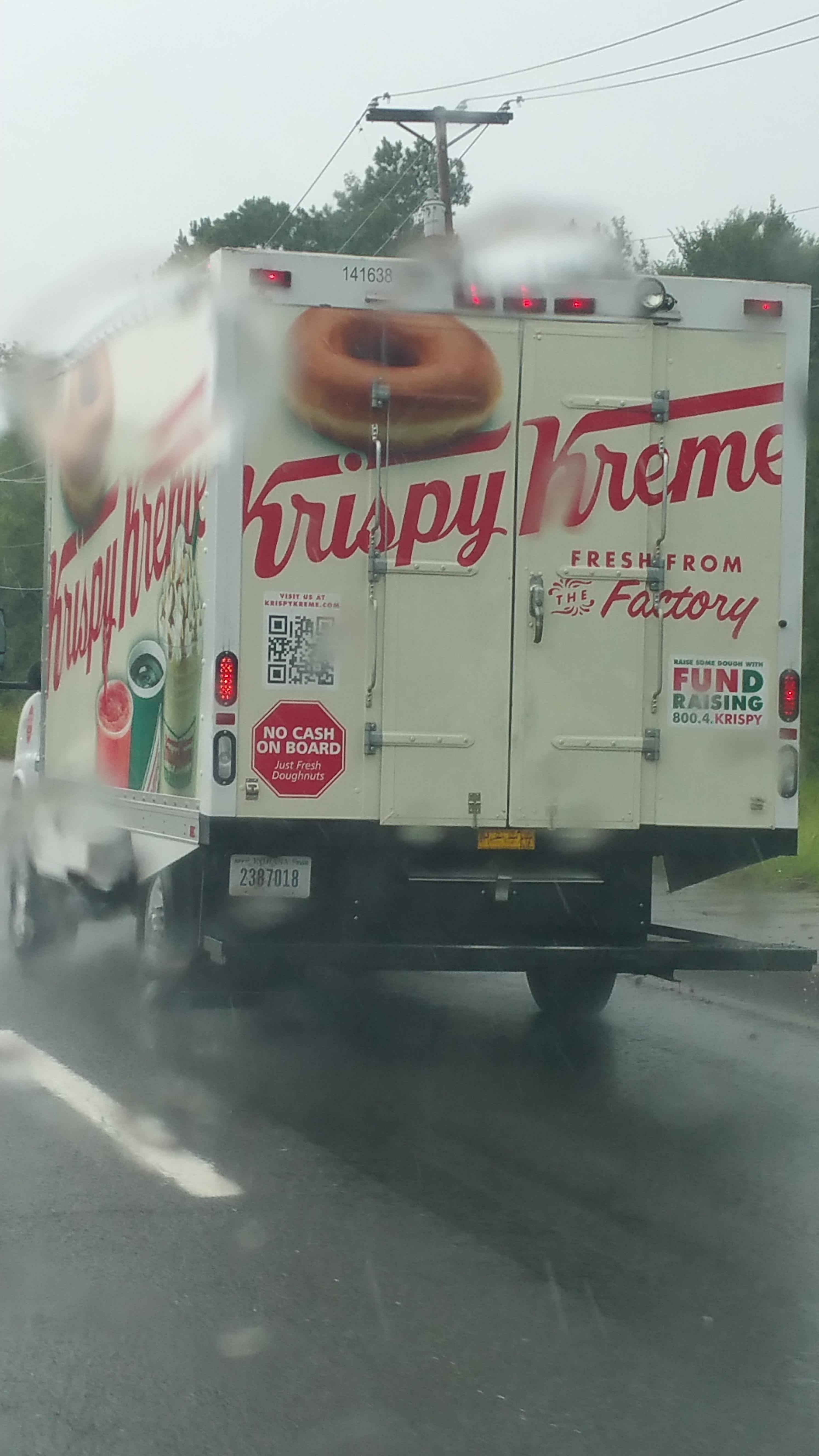 If I was going to rob from a Krispy Kreme truck, it wouldn't be for the cash