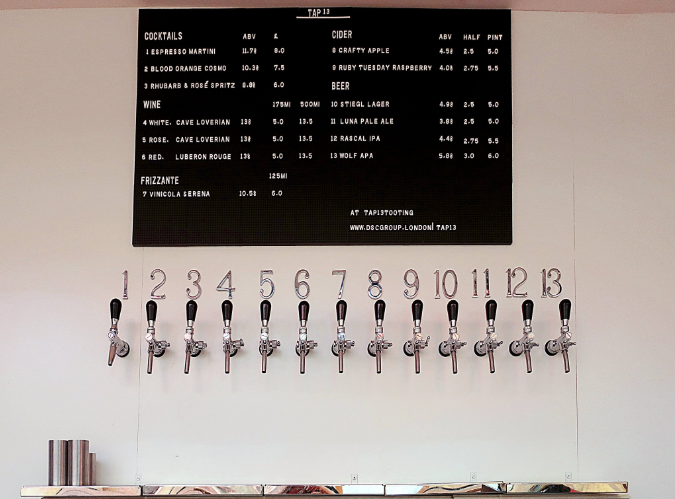 There are 13 taps to choose from. (Credit: Twitter/@Tap13Tooting)