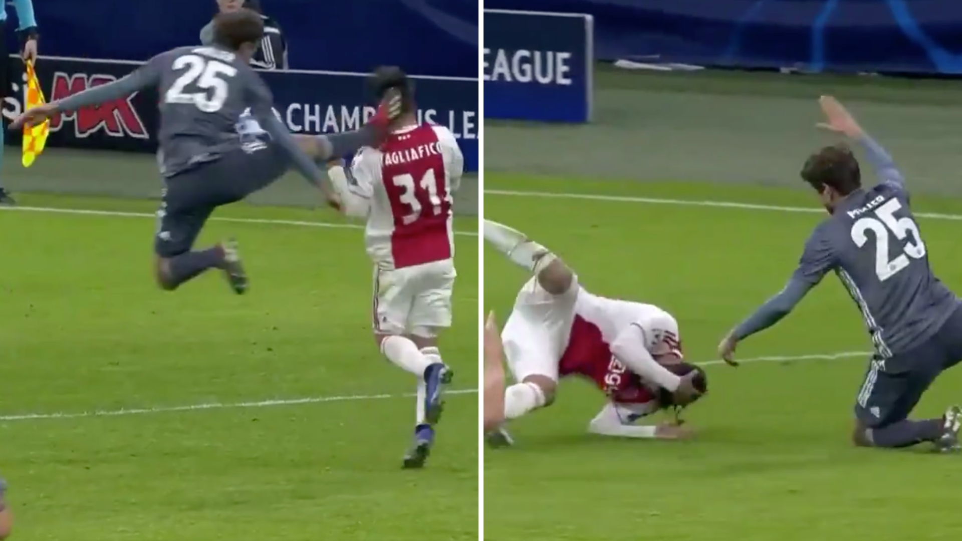 Thomas Müller Almost Decapitates Ajax Player With Karate Kick Challenge