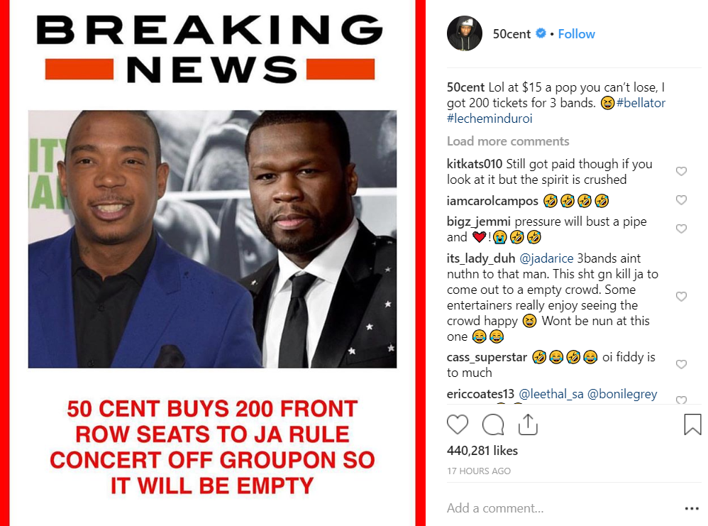 50 Cent Buys Out Ja Rule Concert To Be Petty - LADbible