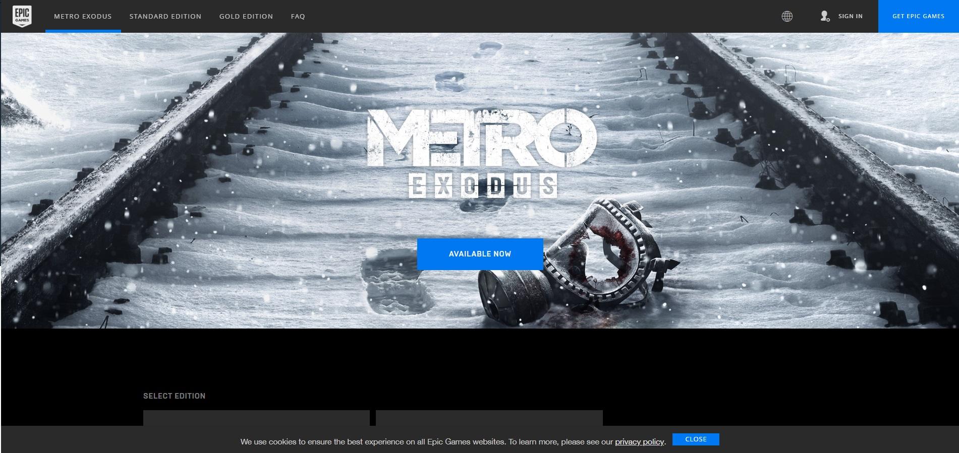 Metro Exodus' Epic Games' store page