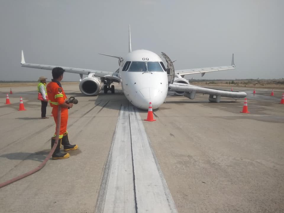 The pilot managed to land the plane without front wheels. Credit: Myanmar Airlines