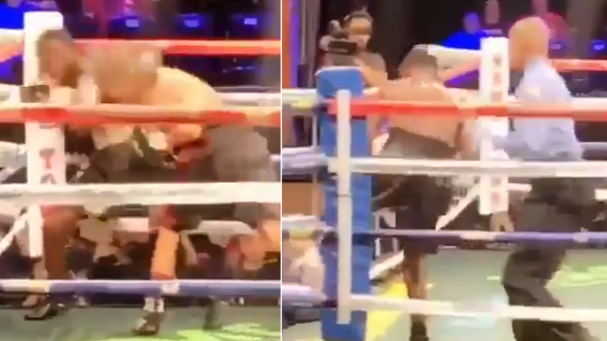 Boxer Walks Out Of The Ring After Getting Dropped
