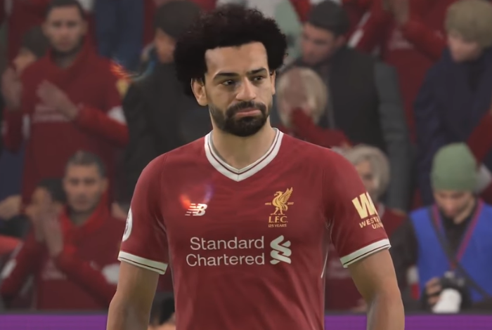 Oh yeah look how realistic Mo Salah looks, but he's no colourful blob on the screen. Image: FIFA 19