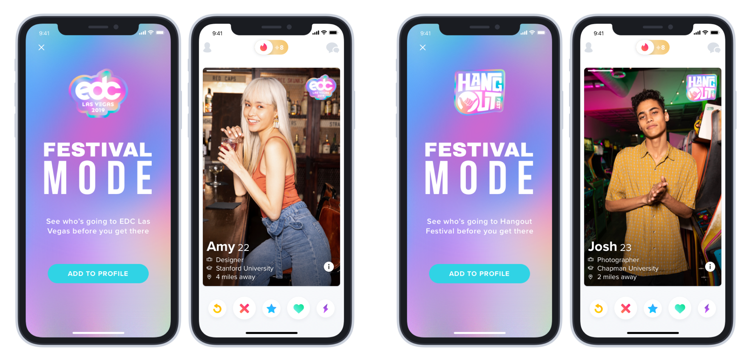 The new feature will allow users to meet up at a selection of festivals in the UK and US. Credit: Tinder