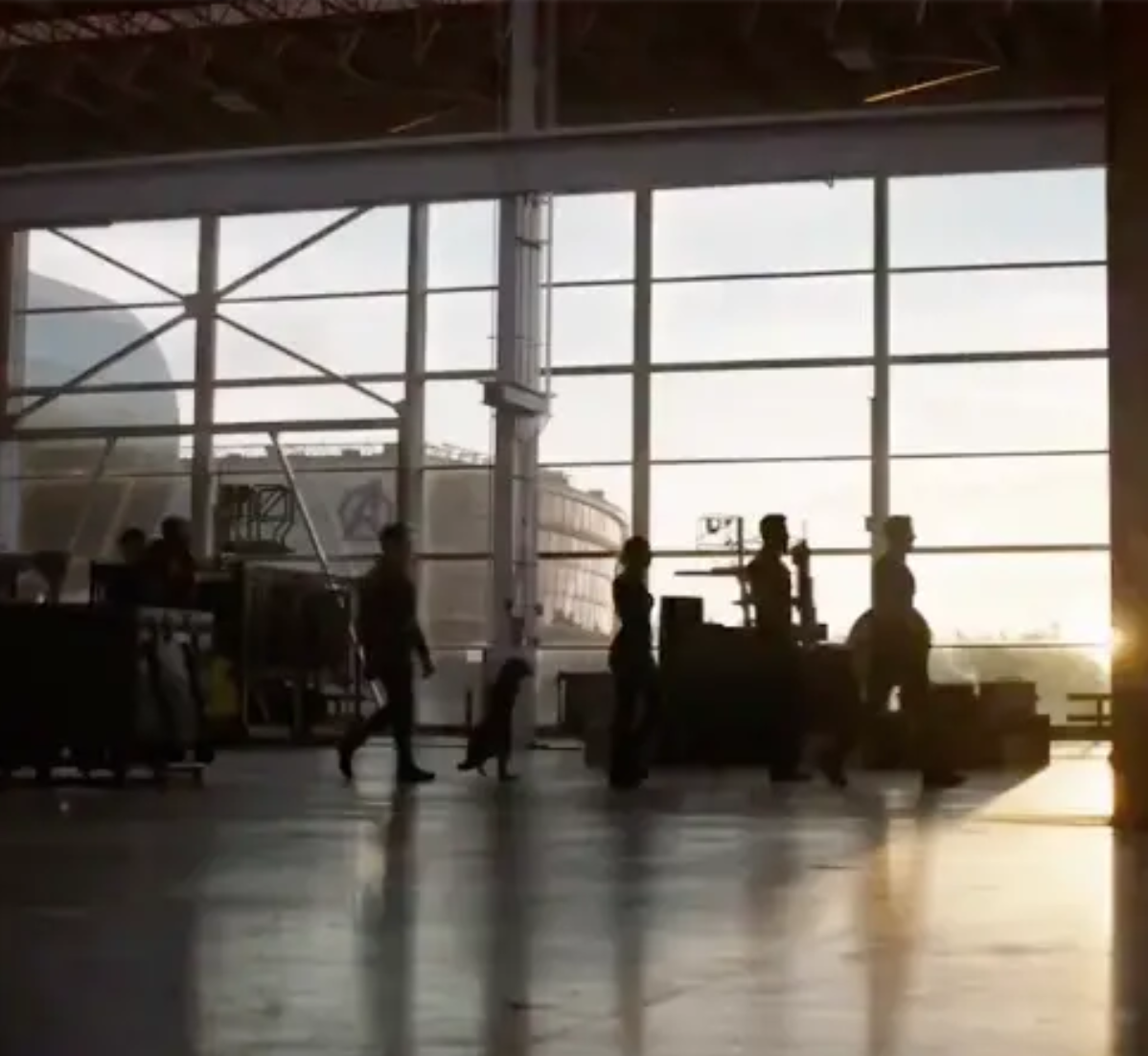 It might not be a clear shot but this is the remaining Avengers getting ready for battle. Credit: Marvel/Disney