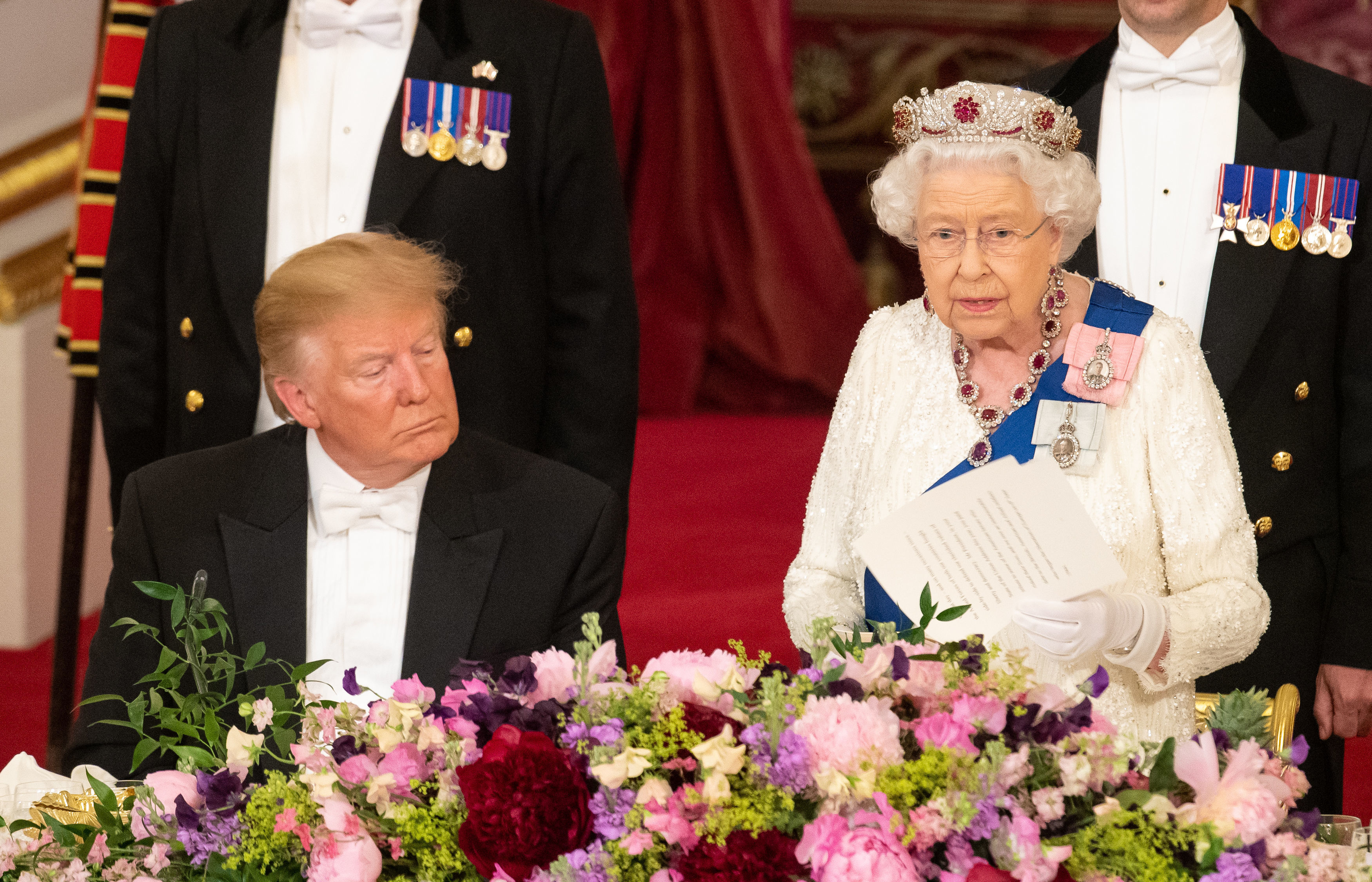Donald Trump appeared to have a little micro-sleep during the Queen's speech. Credit: PA