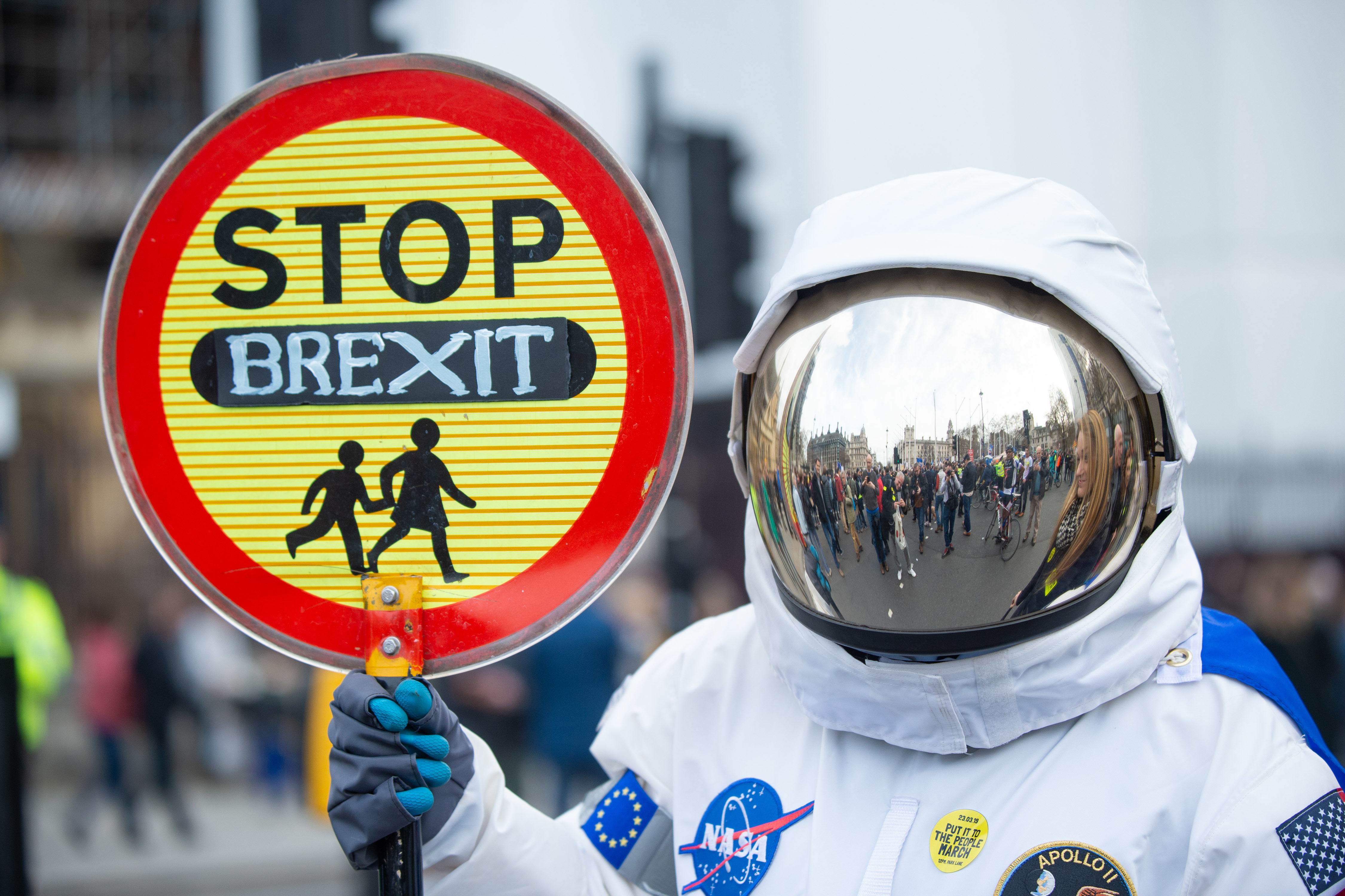 A protester in London this weekend. Credit: PA