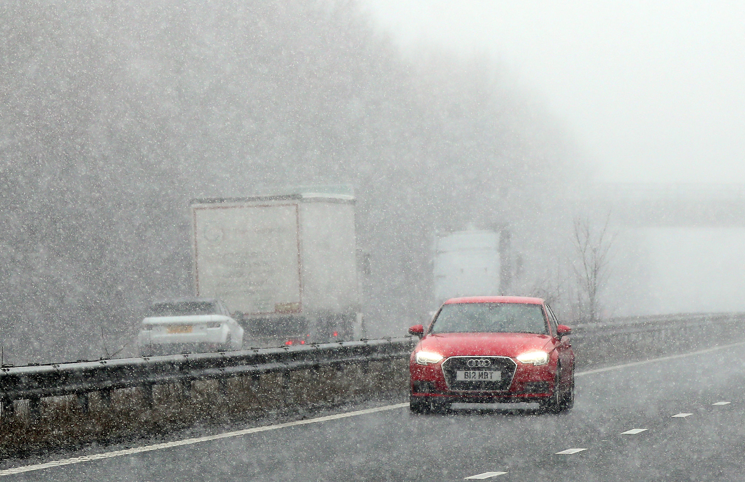 The Met Office has imposed a 'yellow weather warning' until tomorrow morning. Credit: PA