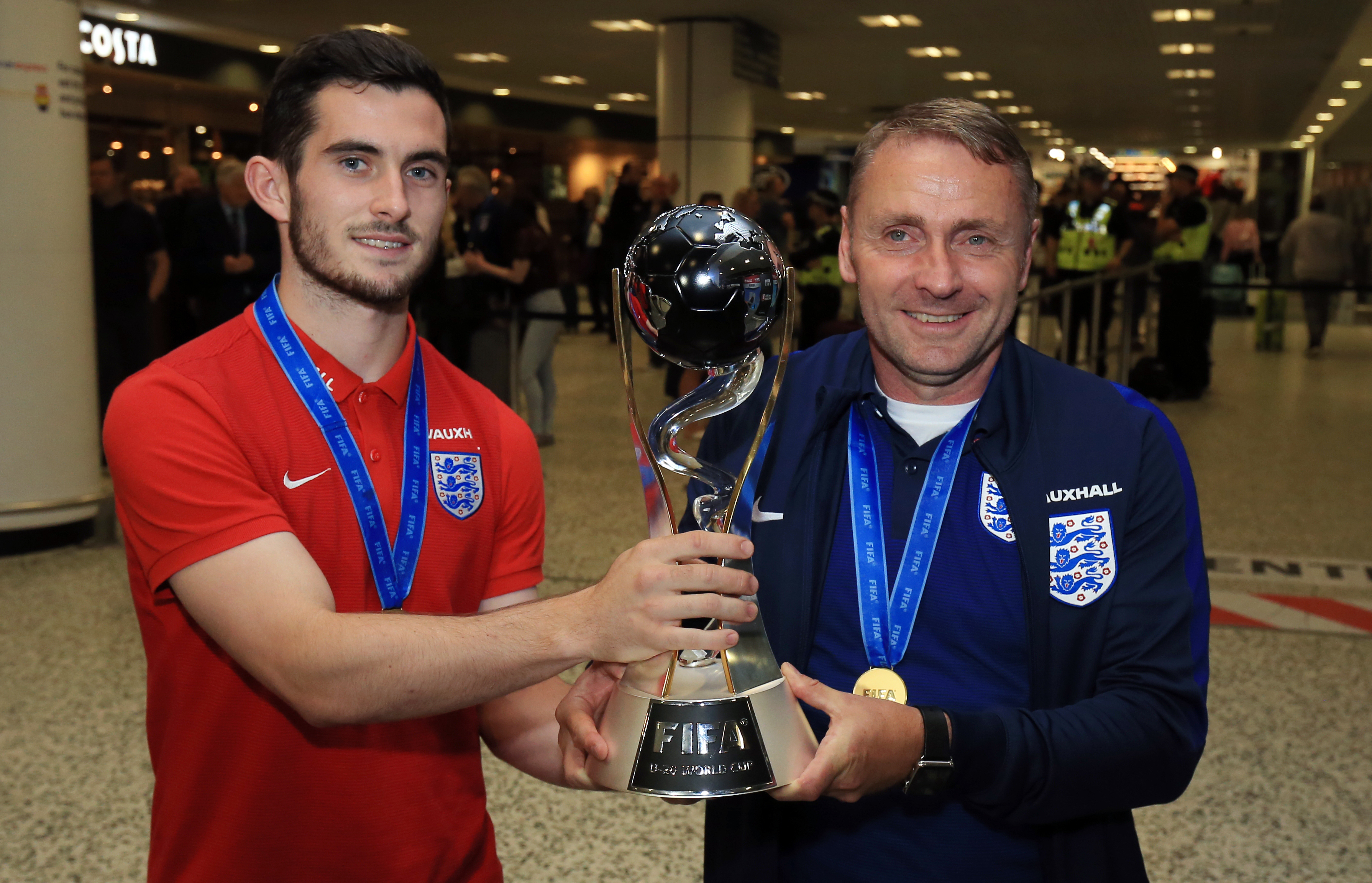 Lewis Cook hold the Under 20s World Cup. His captaincy credentials at a young age could be very important in the future. Image: PA Images