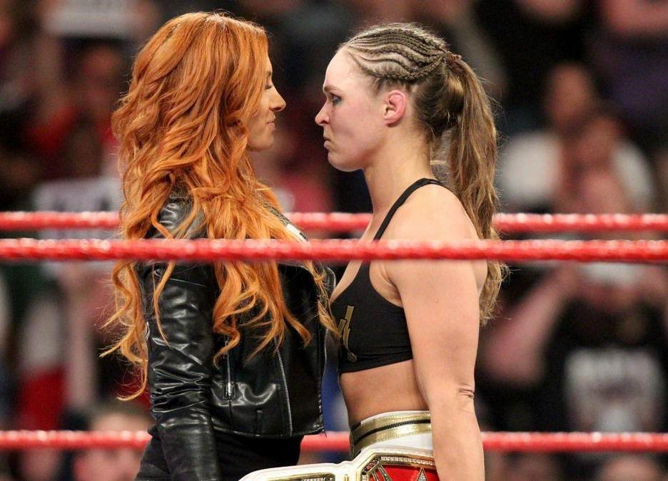 Becky Lynch and Ronda Rousey. Credit: WWE