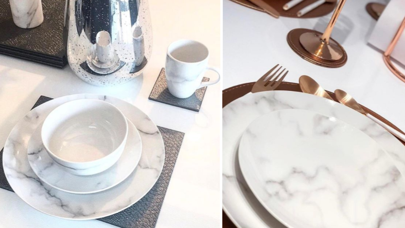 B&M Launch A Gorgeous New 16-Piece Marble-Effect Dinner Set
