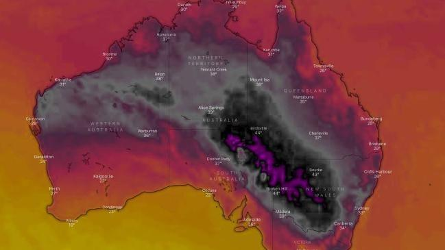 The stark visual reminder of just how hot it is. Credit: Windy TV