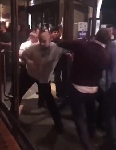 The violence spilled out onto the street as two men tried to get back into the pub. Credit: Facebook