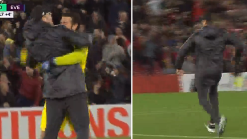 Jurgen Klopp Runs On To The Pitch To Celebrate After Divock Origi's Dramatic Winner Vs. Everton