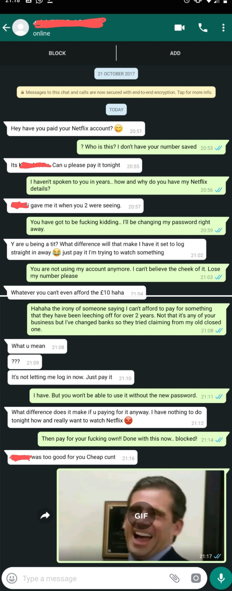 The ex didn't waste time in changing his password and locking the friend out. Credit: Reddit/The_Duff
