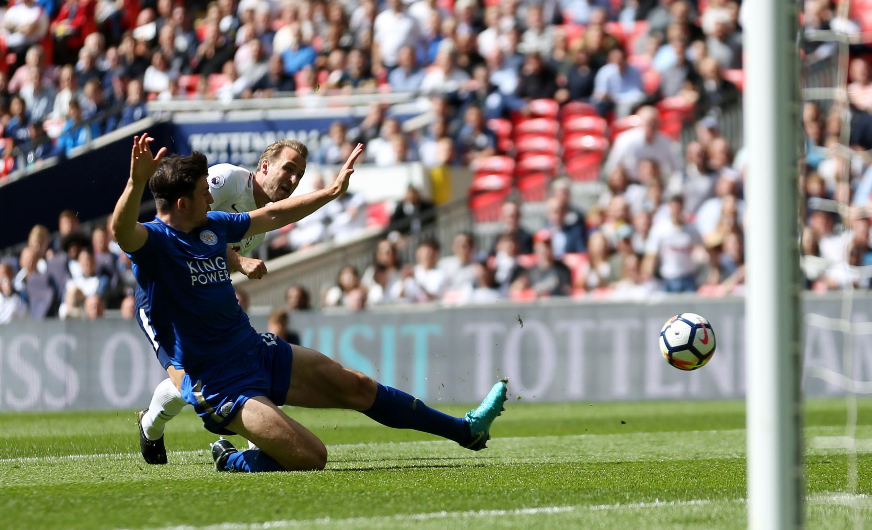 Kane scores his final goal of the Premier League campaign. Image: PA