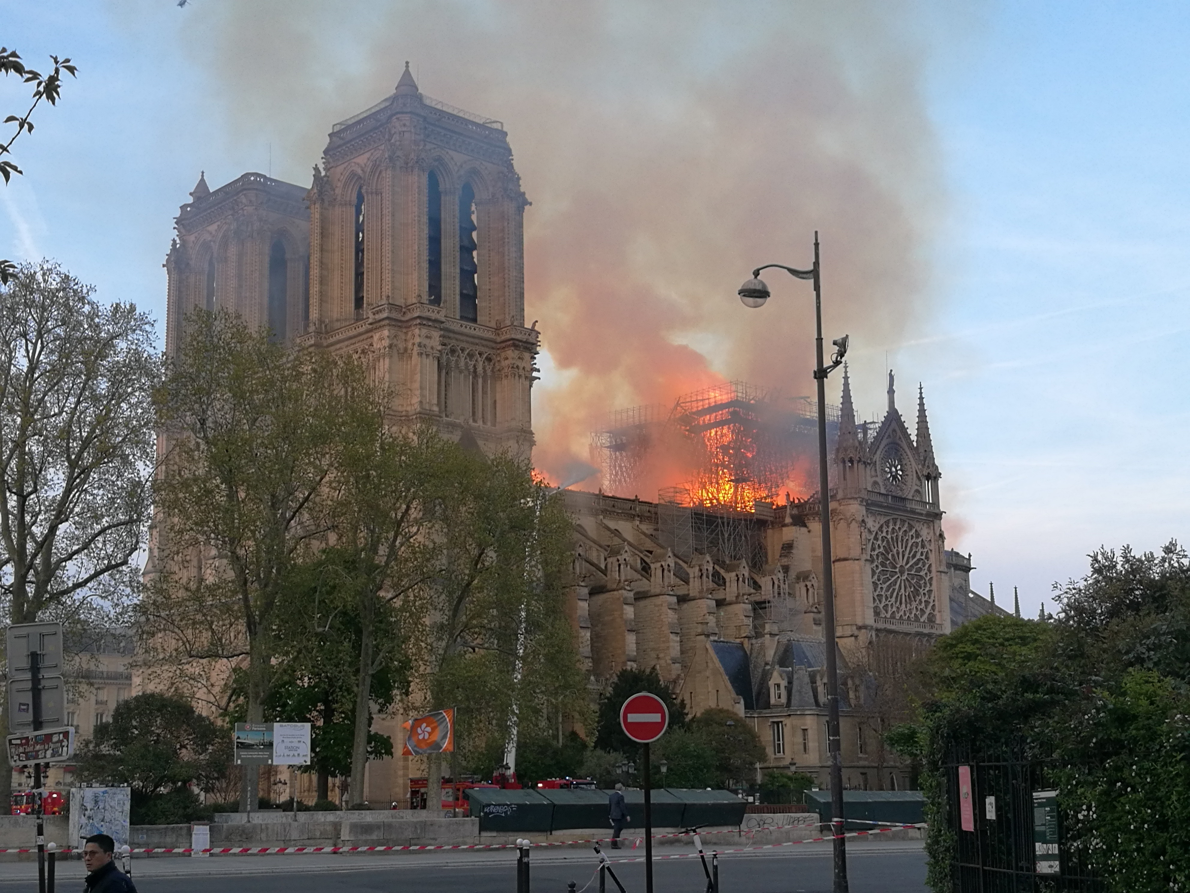 The 850-year-old monument was engulfed by flames, destroying the iconic spire and roof. Credit: PA