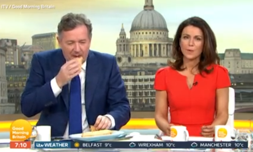 Piers couldn't keep the animal-free alternative down during a taste test. Credit: Good Morning Britain/ITV