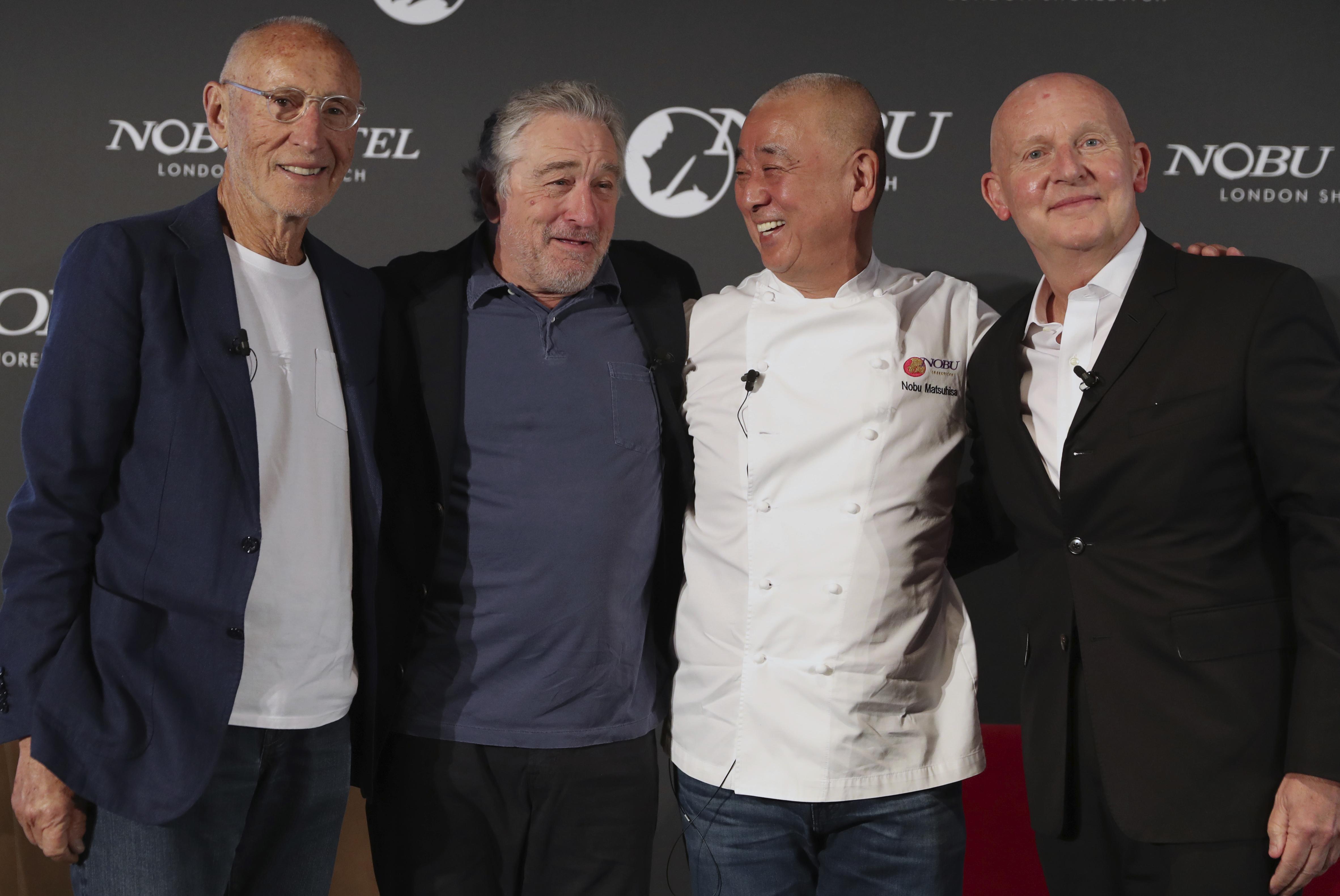 L-R: Meir Teper, Robert De Niro, Nobu Matsuhisa and Trevor Horwell. Credit: PA