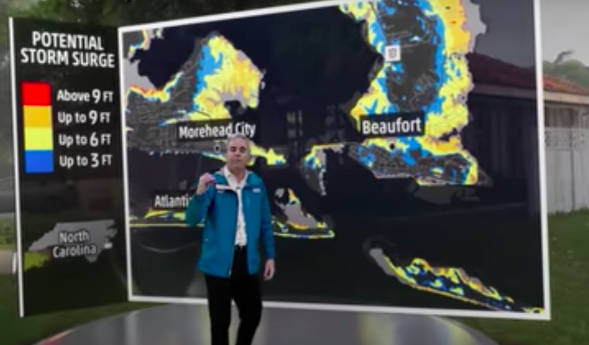 Remarkable use of green screen shows immensity of Hurricane Florence flooding - Ireland