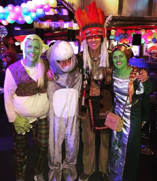 Luiz enjoys his birthday with some of the Chelsea Women's team who had a themed outfit. Image PA Images