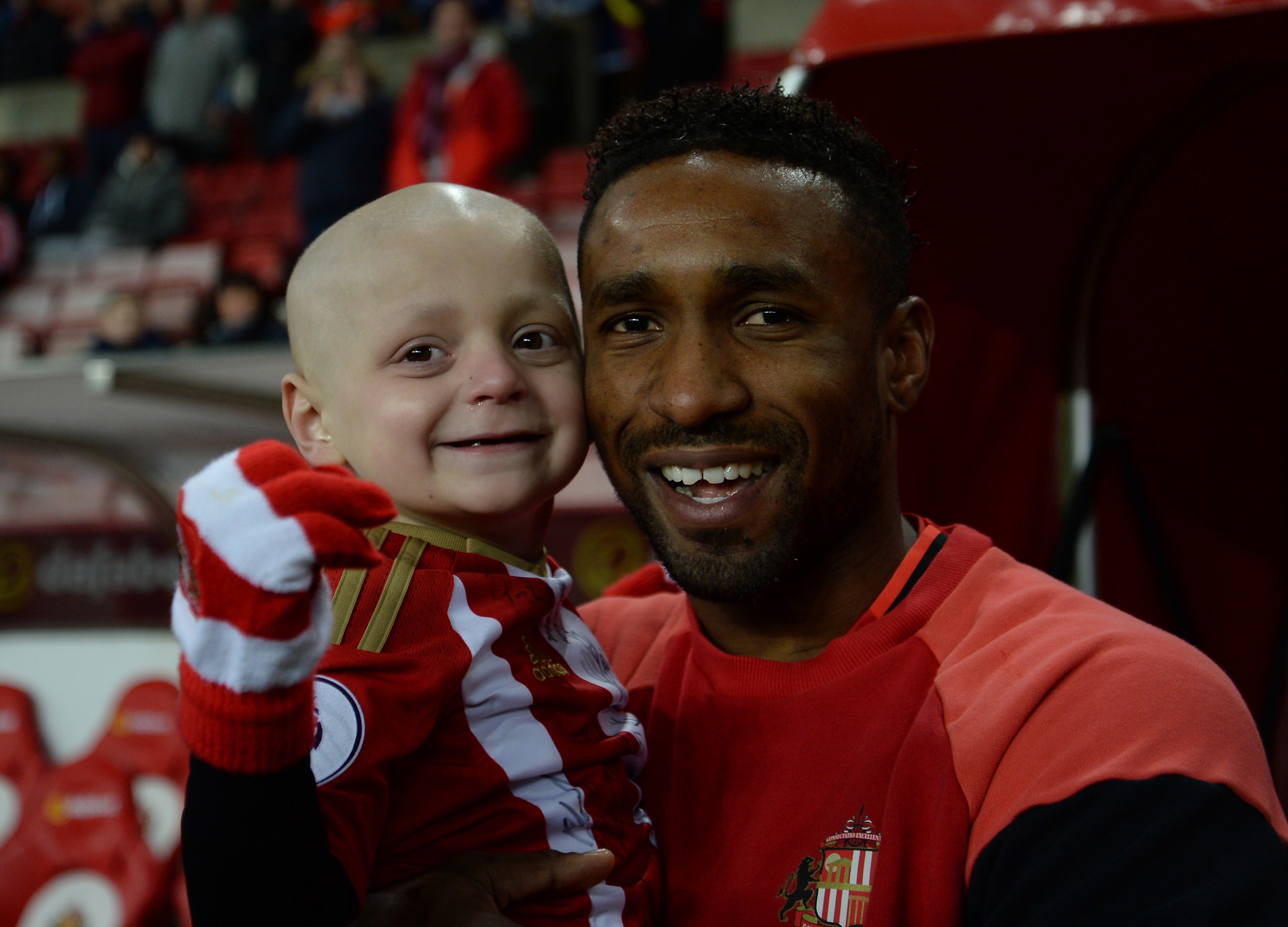 Bradley became good friends with his favourite footballer, Jermain Defoe. Credit: PA Images