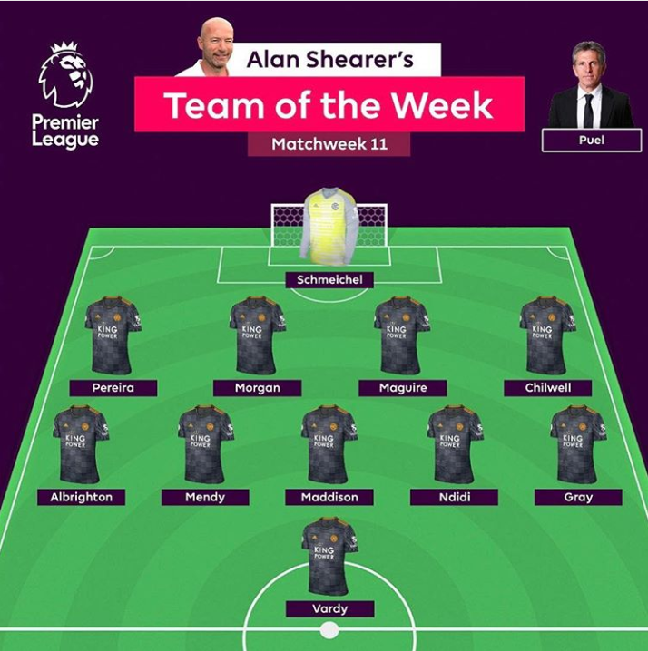 Shearer's brilliant Team of the Week. Image: Instagram