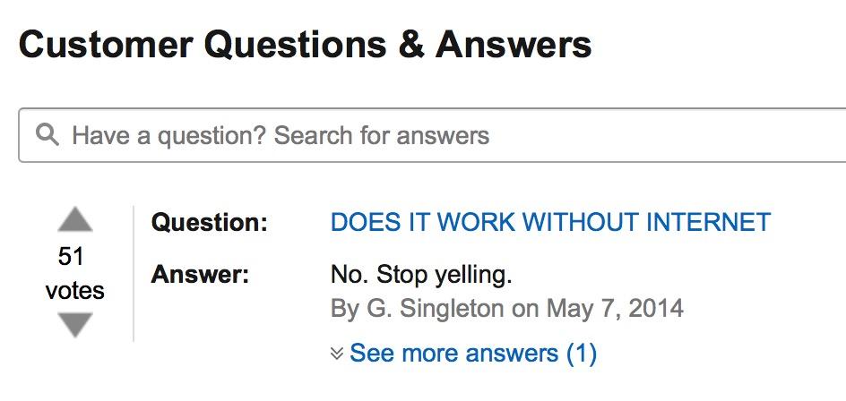 Amazon answers...