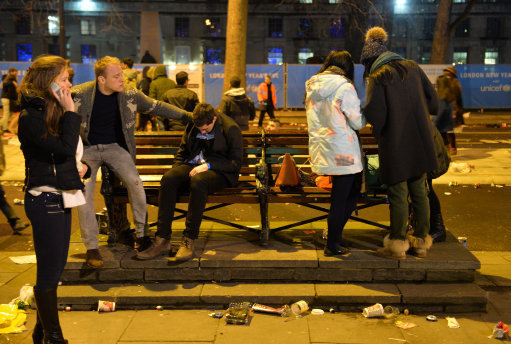 Revellers in central London after the New Year celebration fireworks. Credit: PA