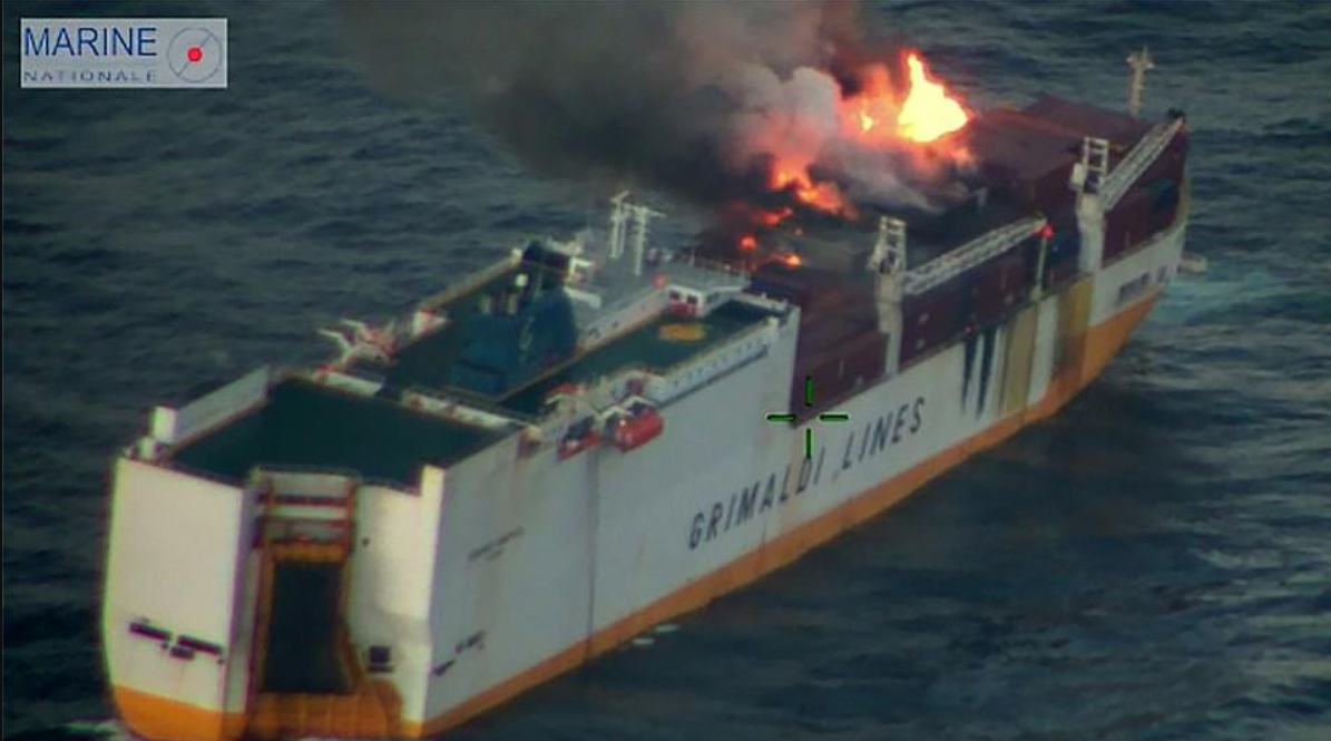 Crew on the ship had unsuccessfully battled the flames, before issuing a mayday alert. Credit: Marine Nationale