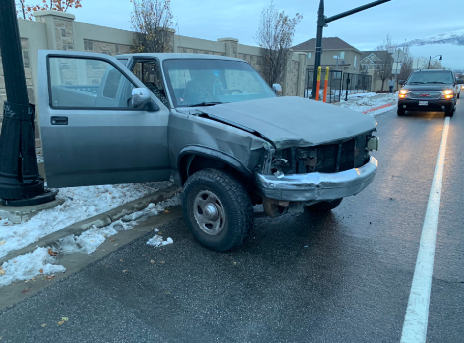 A teen crashed her car in the US after attempting the 'Bird Box Challenge' while driving. Credit: Layton Police Department