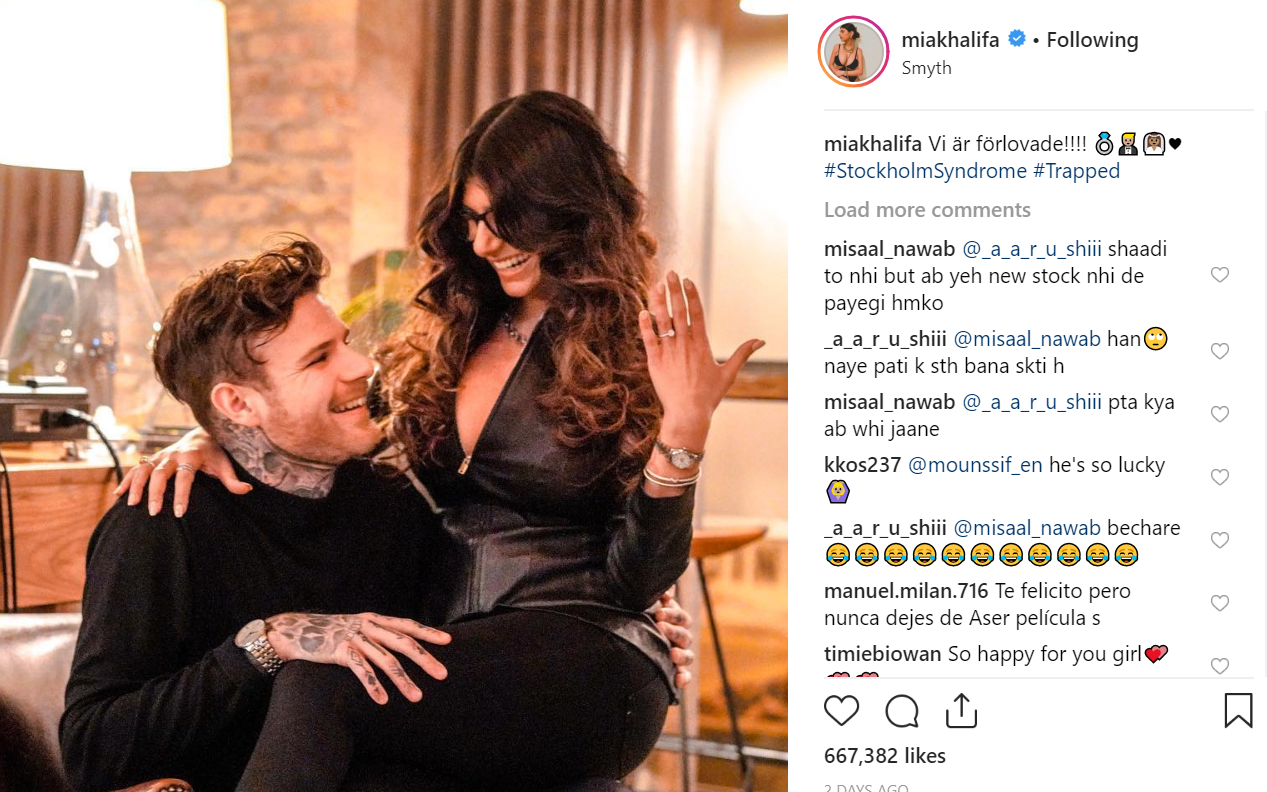 Mia Khalifa announced her engagement on Instagram. Credit: Instagram/miakhalifa