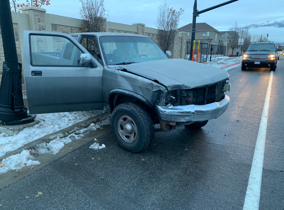 A teen has crashed her car in the US after attempting the 'Bird Box Challenge' while driving. Credit: Layton Police Department