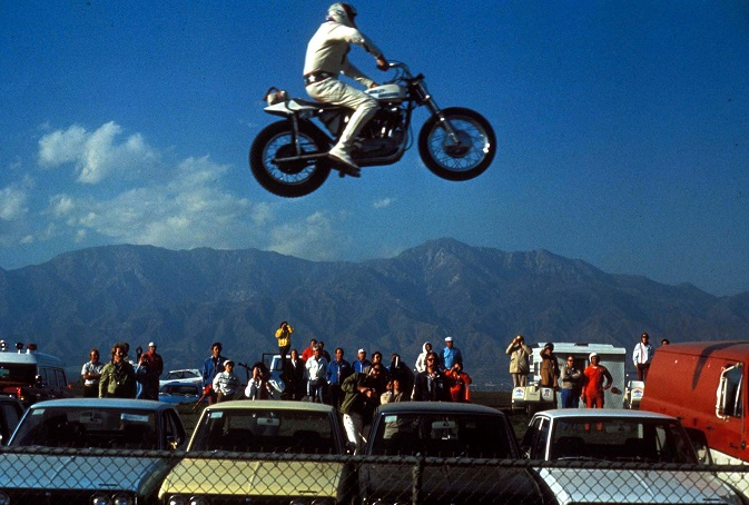 Evel Knievel in action. Credit: PA