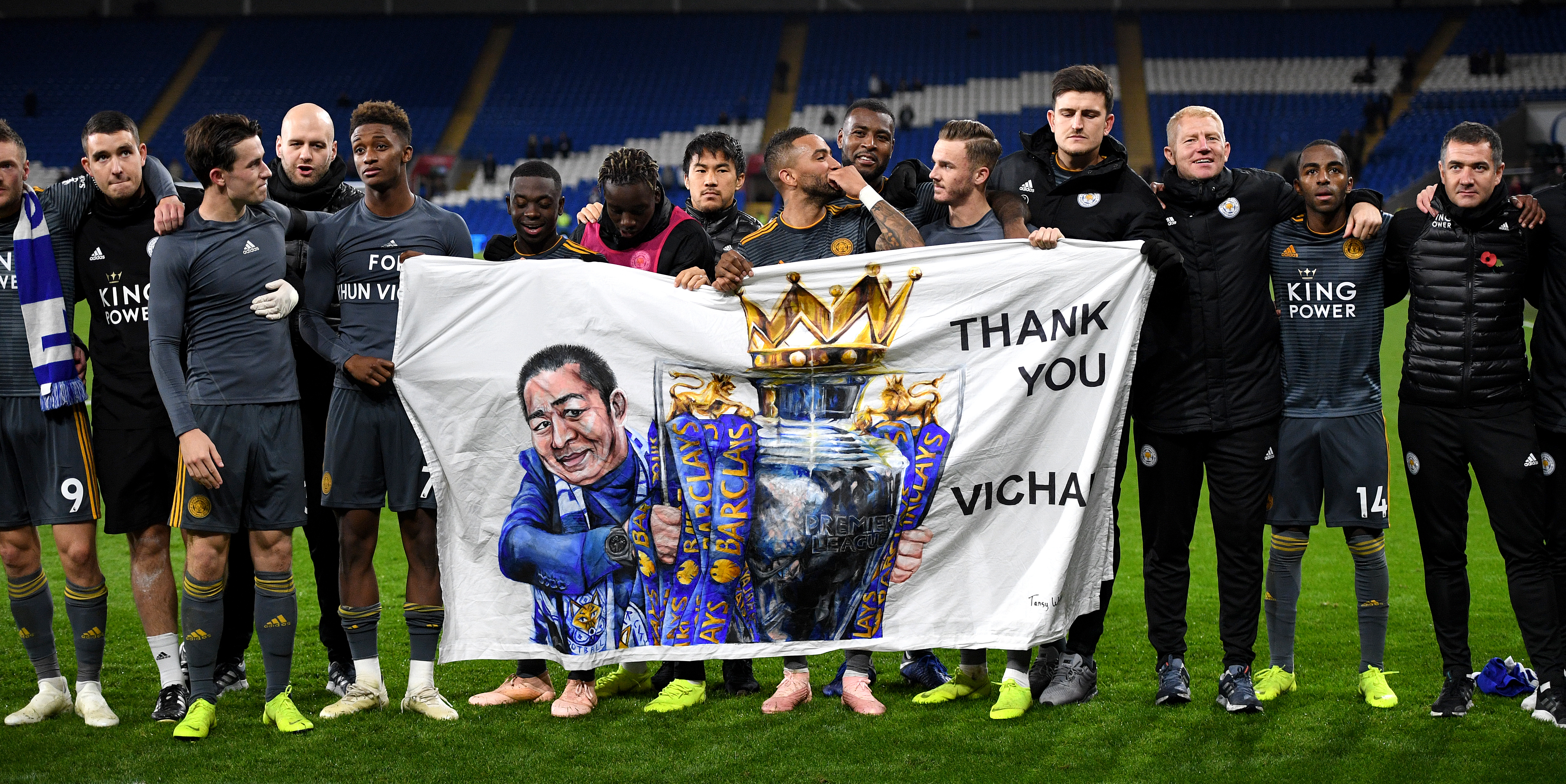 Leicester players and staff pay tribute to Vichai Srivaddhanaprabha. Image: PA Images