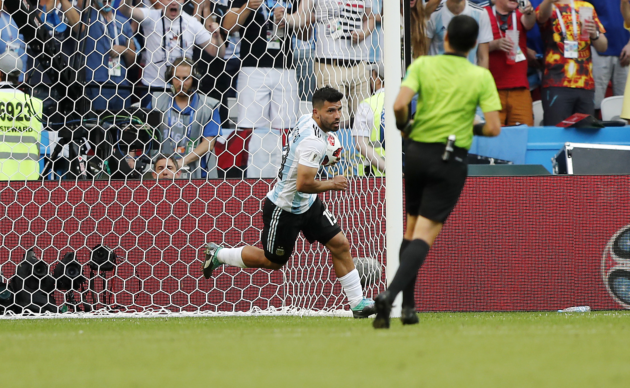 Aguero after his consolation goal. Image: PA Images