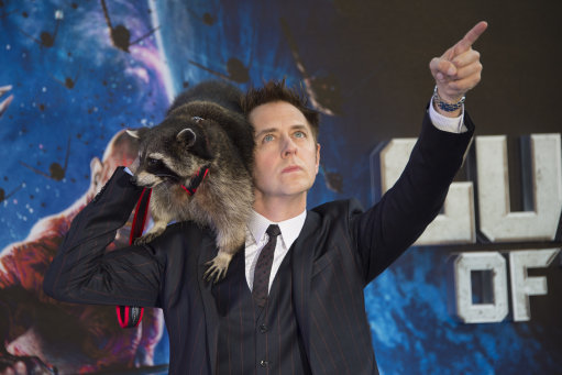 James Gunn attending the premiere of Guardians Of The Galaxy at the Empire cinema in London with Oreo. Credit: PA