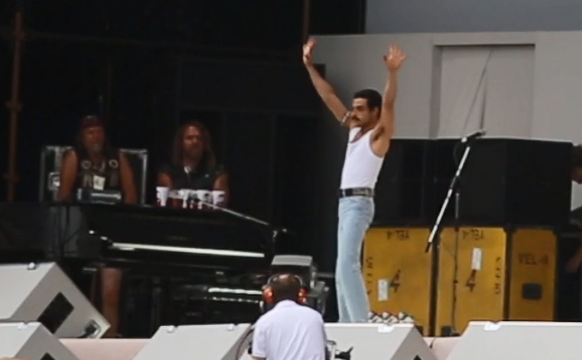 Watch Rami Malek recreate iconic Live Aid performance as Freddie Mercury