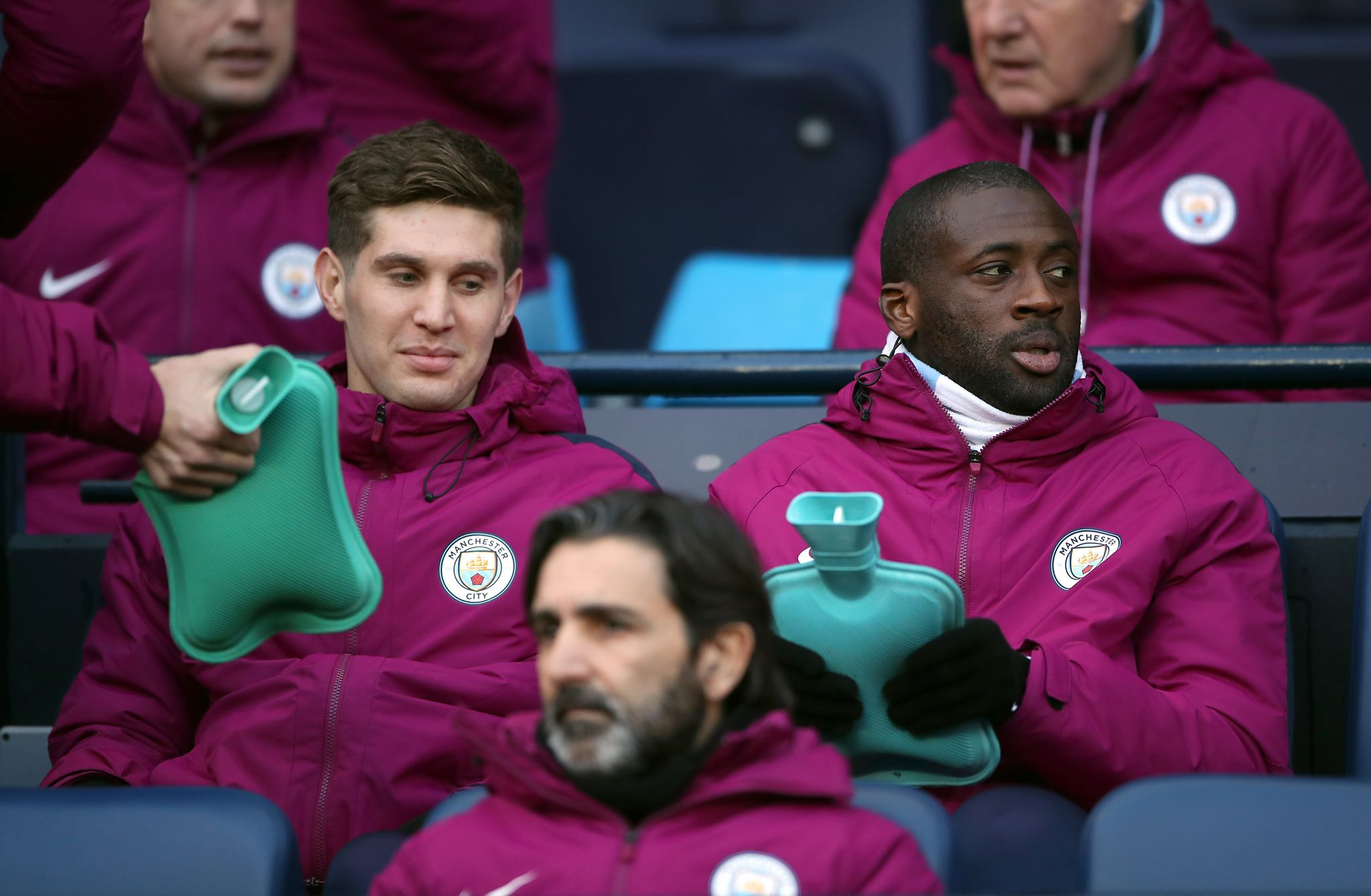 Toure takes a place on the bench. Image PA