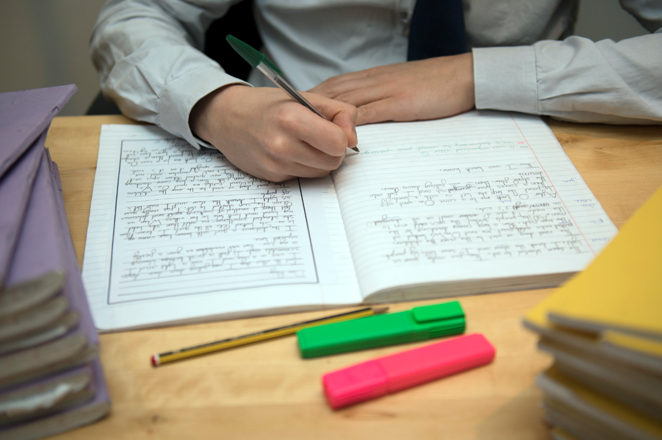 A pupil completing homework. Credit: PA